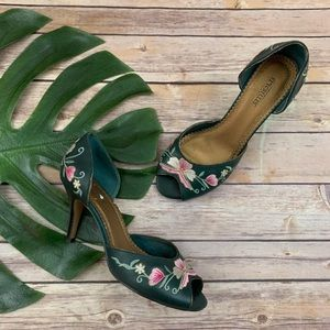 Seychelles Green Embroidered Retro Peep Toe Heels